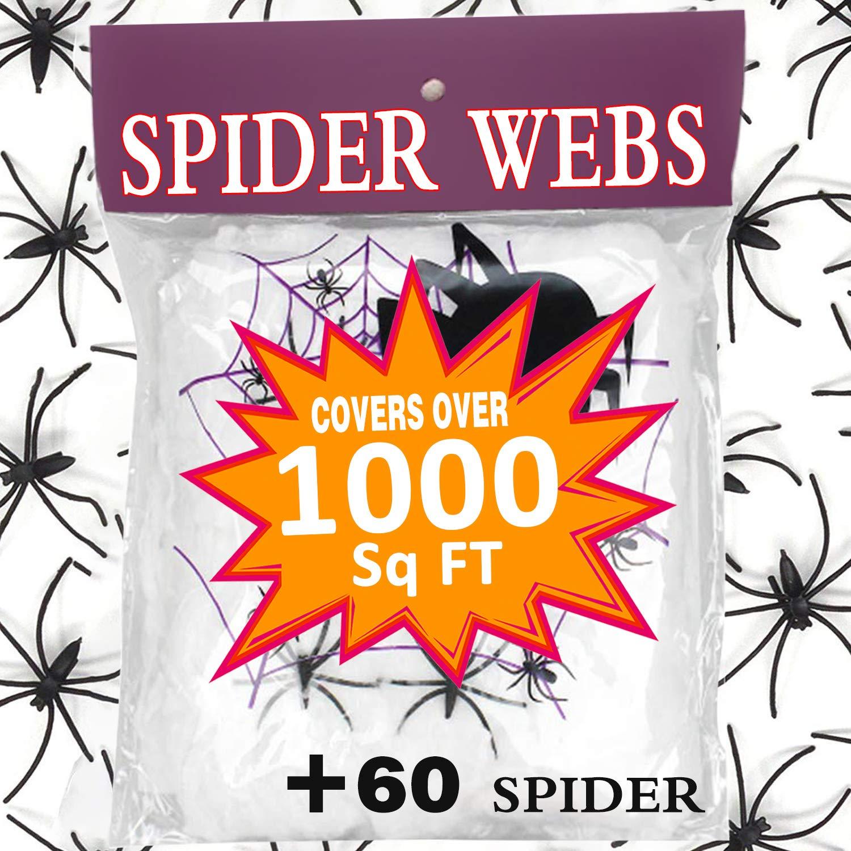 Halloween Decoration Giant Spider Web Stretch 1000 Sq Ft with 60 Fake Spider for Outdoor Indoor Décor Large Cobwebs Spider Silk House Window Door Garden Bar Costume Spooky Party Favor Mischievous Supplie