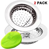 2 Pieces Kitchen Sink Strainer Baskets by EZColoris, with Silica Cleaning Pad Stainless Steel 3mm Hole Filter Large Rim Diameter 4.3 inch Anti Clogging for Sink Drain