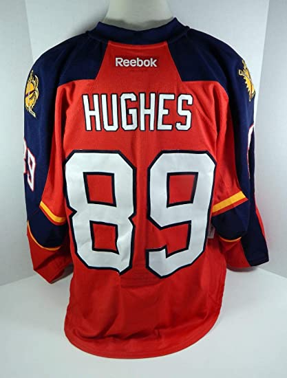 2a4d4370 2013-14 Florida Panthers Gabe Hughes #89 Game Issued Red Jersey ...