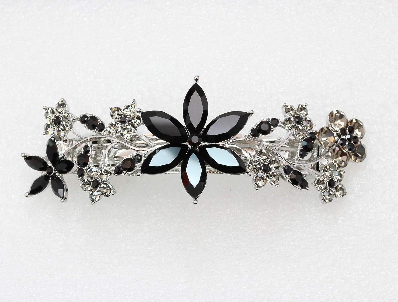 Faship Gorgeous Black Crystal Floral Hair Barrette Clip : Beauty