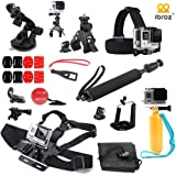 iBroz® - GoPro® Pack Multi Accessoires Ultimate 16 en 1 pour Casque, tête, Poitrine, Velo, Moto, Surf à voile, Plongée, Piscine, Ski, Equitation... Pour GoPro® Hero 4, 3+, 3, 2, 1 - - Nilox F60 EVO - Xpro2 Tectectec et autres Sports Cam etc..
