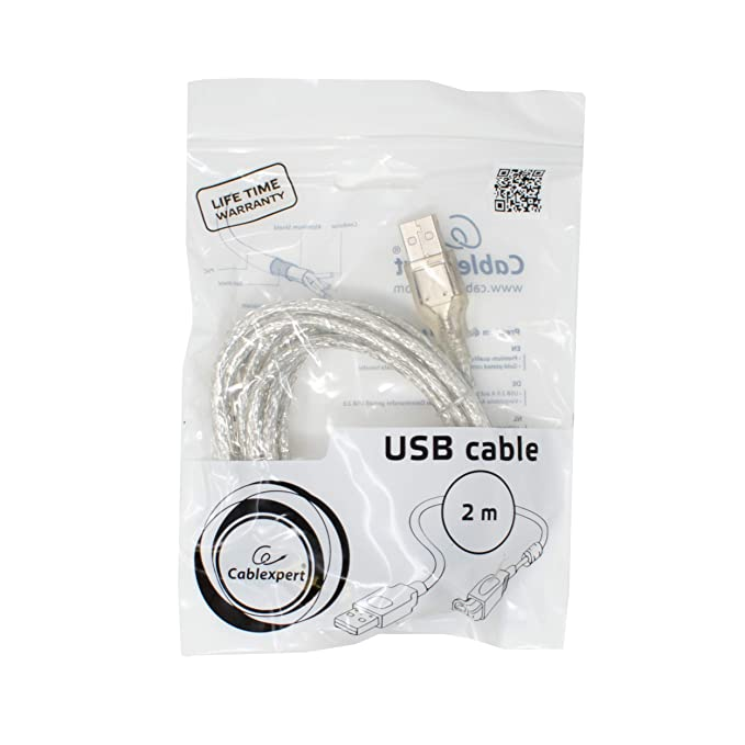 I-CHOOSE LIMITED 2m Transparente USB Cable A to B Leads Corta y ...