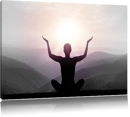 Yoga en las montañas B & W detailon lienzo, XXL enormes ...