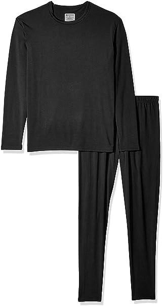 bda5d6abe 9M Men's Ultra Soft Thermal Underwear Base Layer Long Johns Set with Fleece  Lined, Black