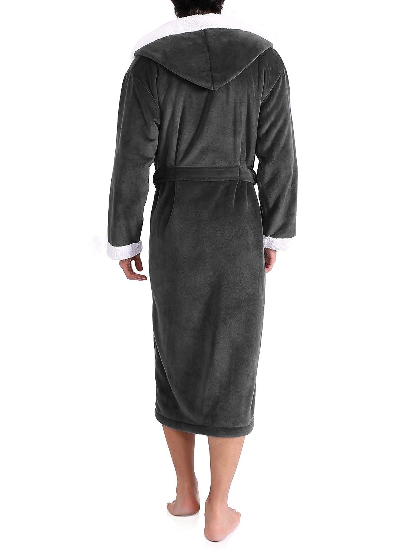 Genuwin Men s Hooded Bathrobe Luxury Velour Berber Fleece Soft Bath Robe  Invisible Pockets Belt Warm Nightwear larger image 761e657c2