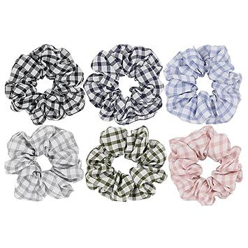 Blue And White Gingham Check Print Bow Elastic Hair Scrunchie Bobble