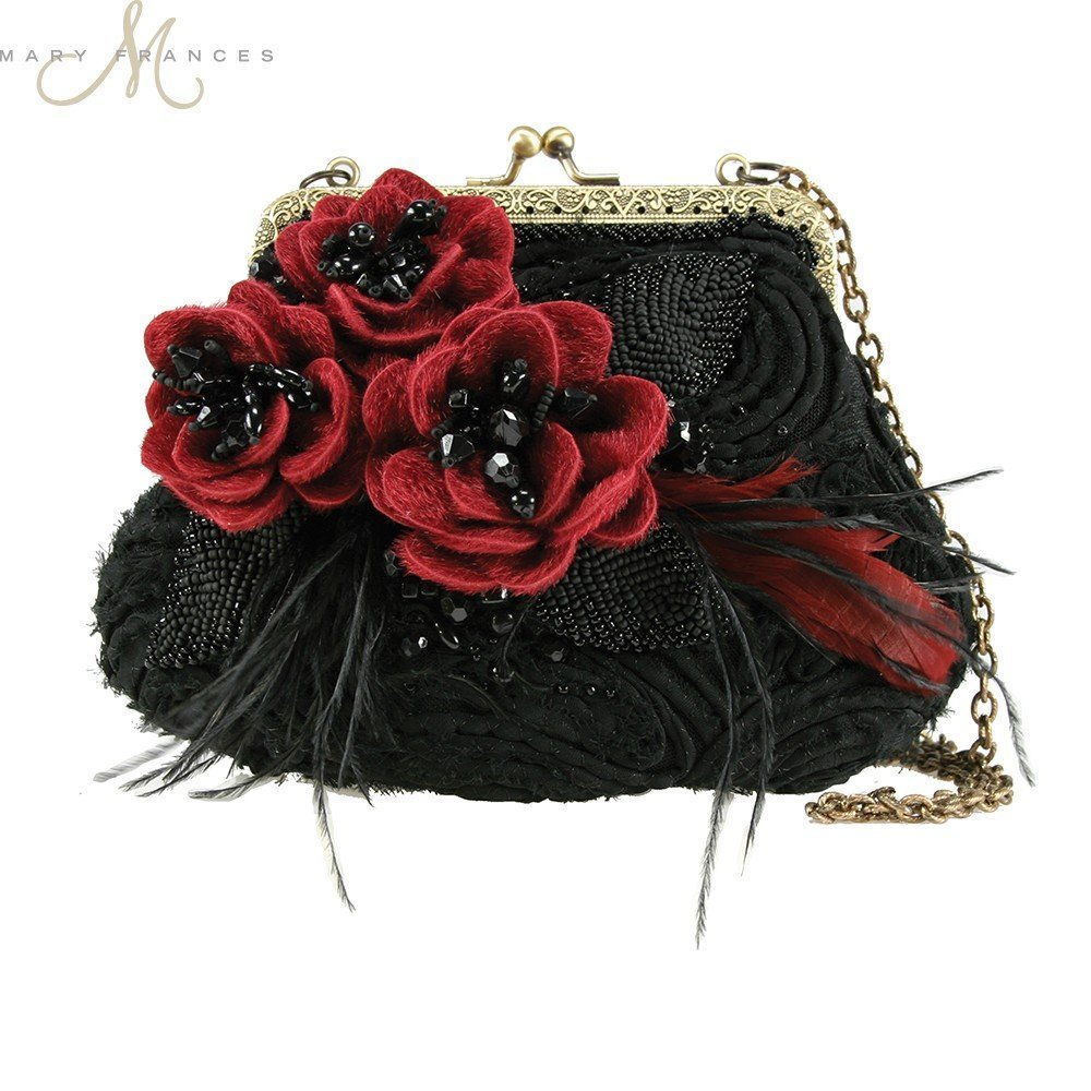 Mary Frances Date Night Black Red Floral Mini Evening Bag by Mary Frances