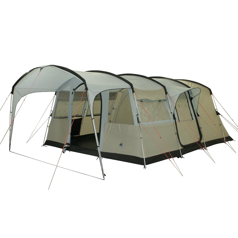 10T Camping-Zelt Sorrento 6 Tunnelzelt mit Schlafkabinen für 6 Personen Outdoor Familienzelt mit Wohnraum Steilwandzelt mit Sonnendach, eingenähte Bodenwanne, wasserdicht mit 5000mm Wassersäule
