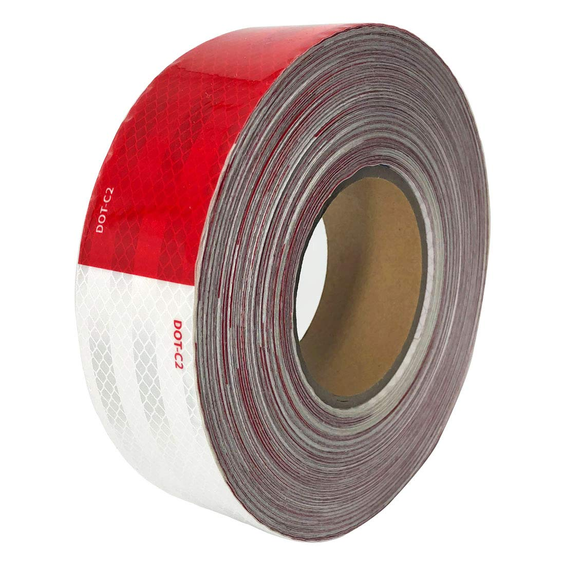 Dot-C2 Red/White Reflective Safety Tape 2 Inch x 150 Feet - for Vehicles,Trailers,Boats,Signs (2 In x 150 Ft)