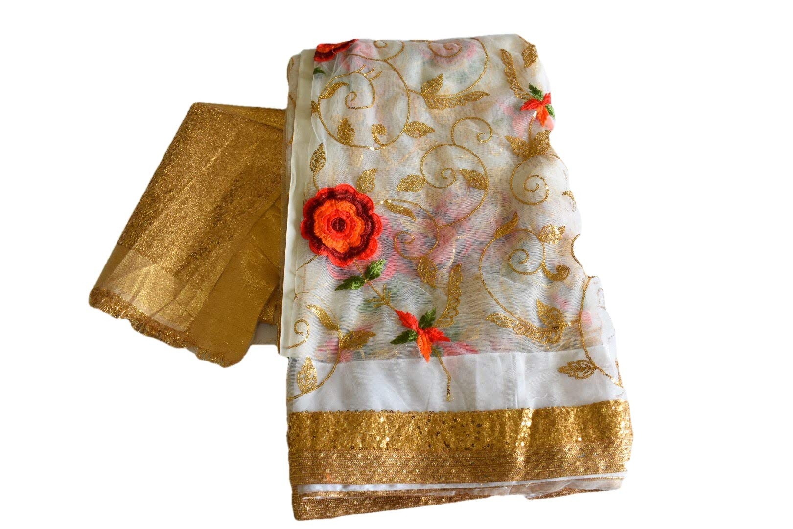 Rainbow Collections Modern wear Chiffon Saree with Gold and Red Embroidery with Gold Sequin in White Color. Saree Fall and Edge is Fully Stitched.
