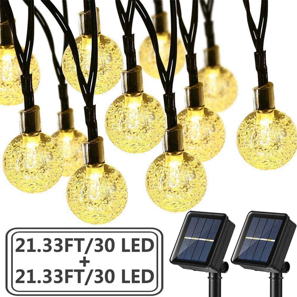 Brizled 2 Pack Solar String Lights, 21.33ft 30 LED Solar Globe String Lights Outdoor Waterproof 8 Modes Crystal Ball String Lights for Yard Patio Garden Wedding Pergola Gazebo Bistro Party, Warm White