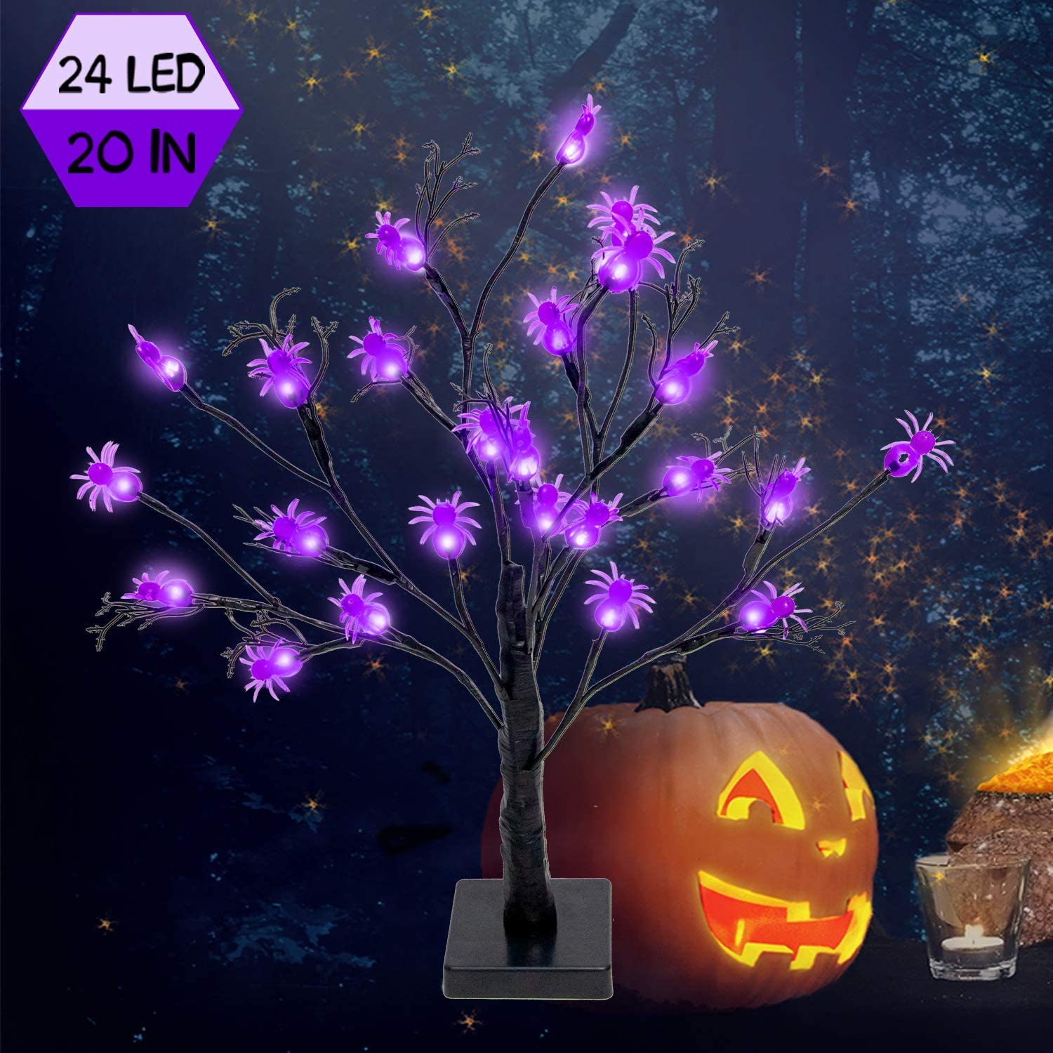FUNARTY 24 LED Lighted Halloween Tree Battery Operated Birch Tree Lights Table Centerpiece with 24 DIY Spiders for Indoor Home Desktop Party Halloween Decorations