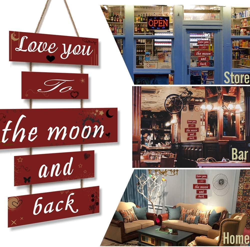 Love You to The Moon And Back HUABEI Cartello Vintage in Legno da Appendere alle Parete