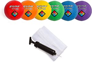 Champion Sports Playground Ball Set w/Mesh Storage Bag & Pump: 6 Multi Colored Textured Nylon Soft Rubber Bouncy Indoor Outdoor Balls Perfect for Kids Dodgeball Kickball Foursquare or Handball Games