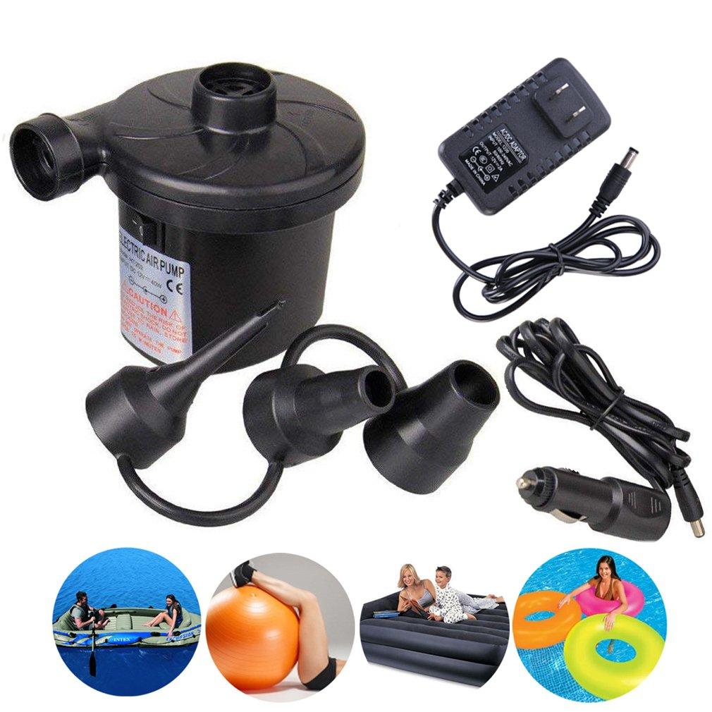 SeBeLi Electric Air Pump Portable Air Mattress Pump Quick-Fill 110V AC/12V DC Inflator Deflator with 3 Nozzles for Inflatables Air Bed Boat Raft Mattress Outdoor, Car Use, Indoor, Black