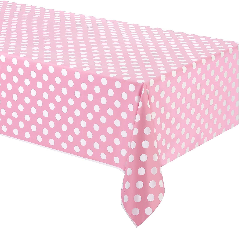 Takestop/® Mantel de pl/ástico para fiesta rosa lunares 132/x 220/cm USA y desechable impermeable cumplea/ños boda nacimiento bautizo Party
