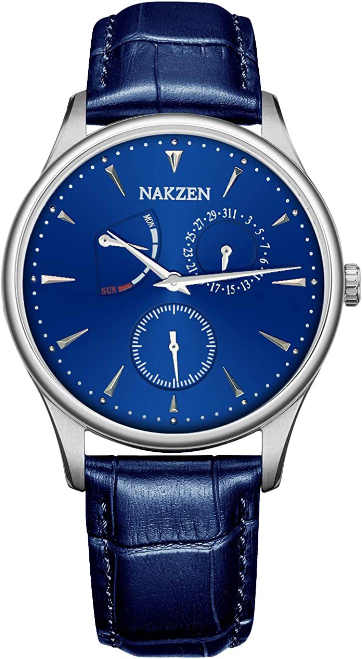 Nakzen Men Quartz Watch Leather Luxury Slim Band Analog Display Wrist Watch Men's Casual Dress Chronograph Watches for Men with Date Week Window Waterproof