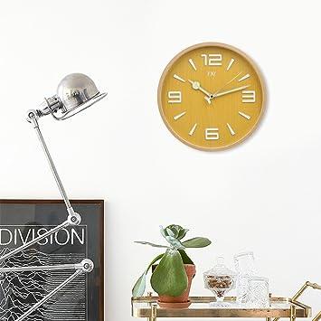 TXL Madera Reloj de Pared de Grande, Digital, Silencioso, 32cm diametro, Reloj