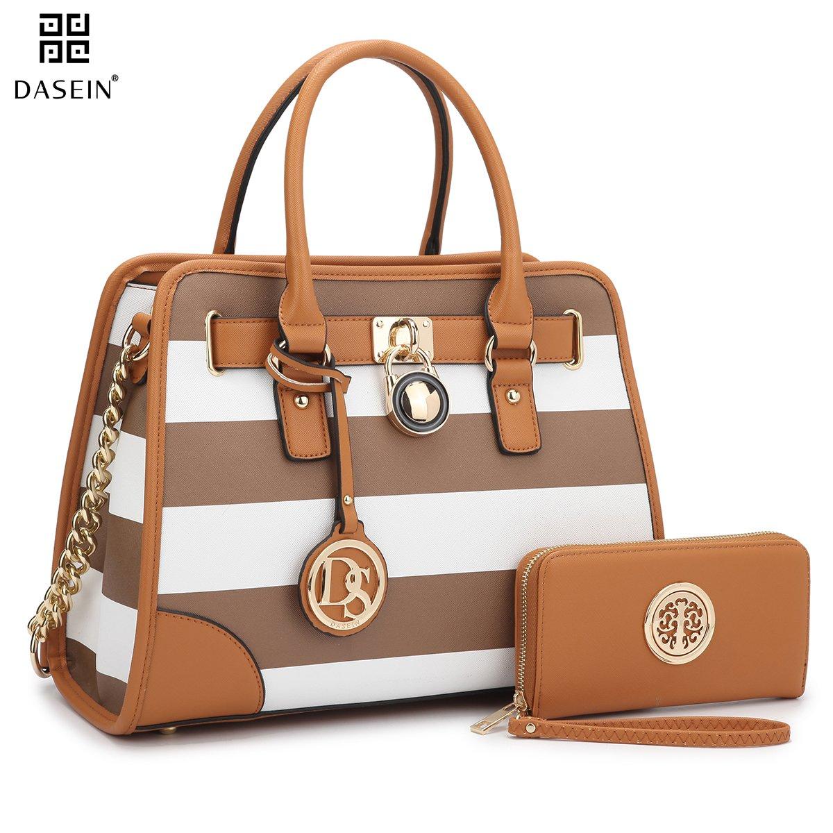 Dasein Women's Designer Padlock Striped Belted Top Handle Satchel Handbag Purse Shoulder Bag With Wallet (Coffee/White)