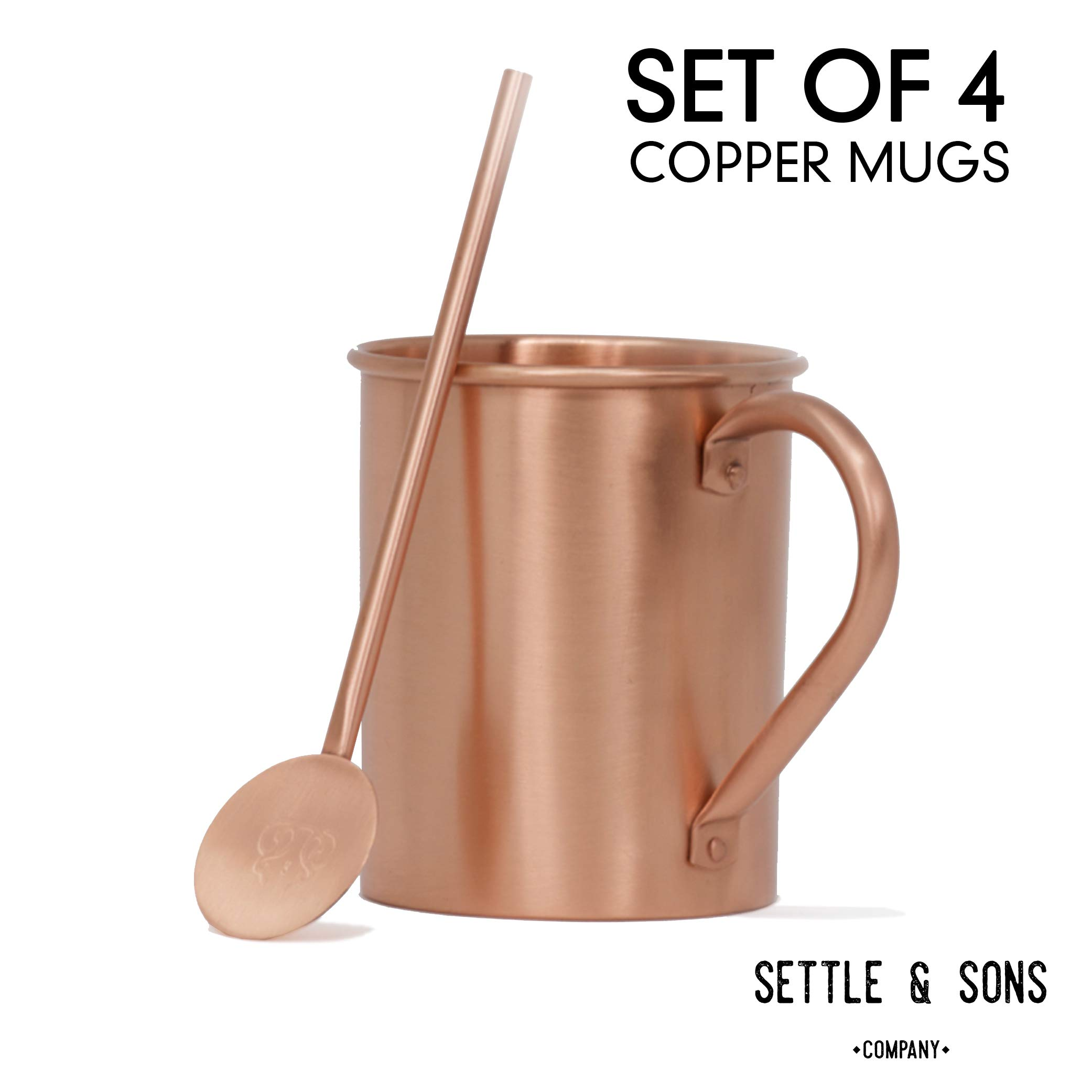 Moscow Mule Copper Mugs Set of 4 - 16 Ounce 100% Solid Copper Mugs and 4 Copper Cocktail Straws