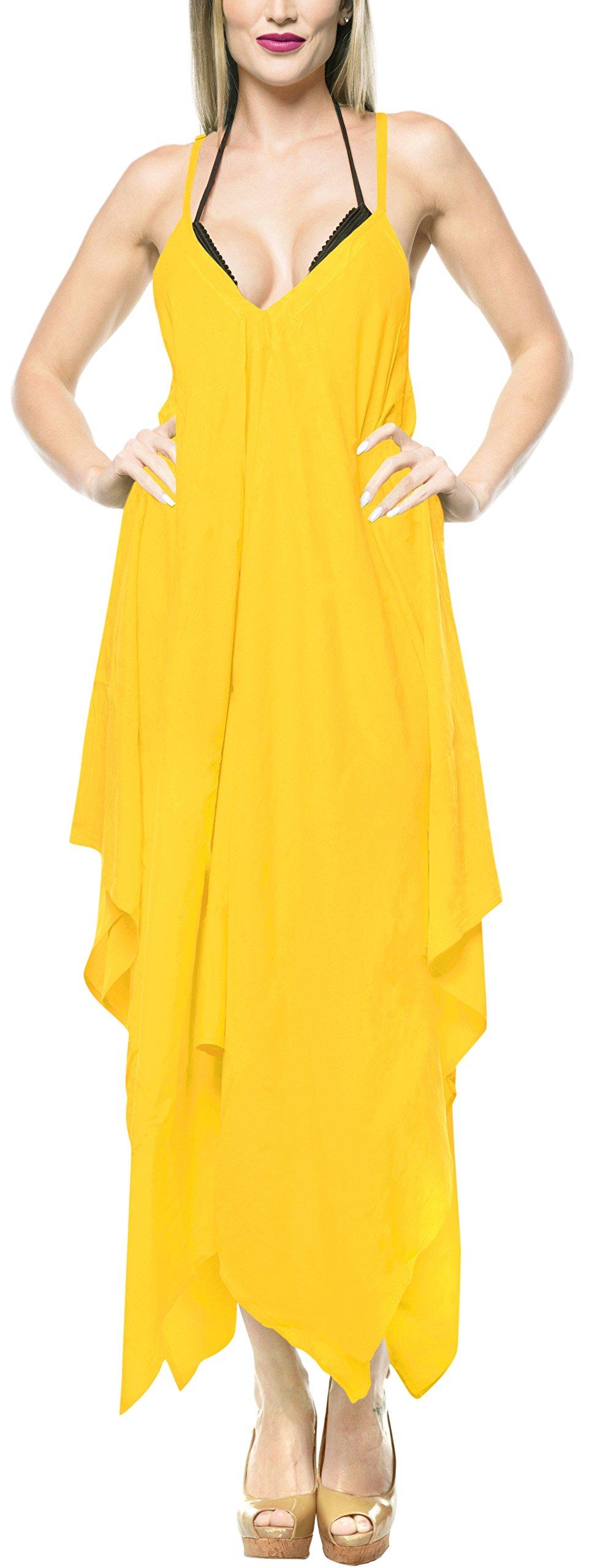 LA LEELA Rayon Solid Evening Dress Hawaiian Bride Cruise OSFM 14-16 [L-1X] Yellow_3425
