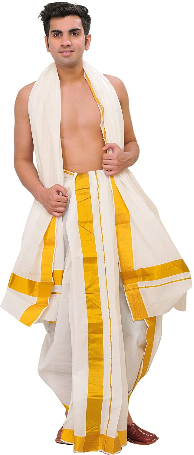 Exotic India Snow-White Dhoti and Veshti Set from Kerala with Wide Golden Border - White SPD54