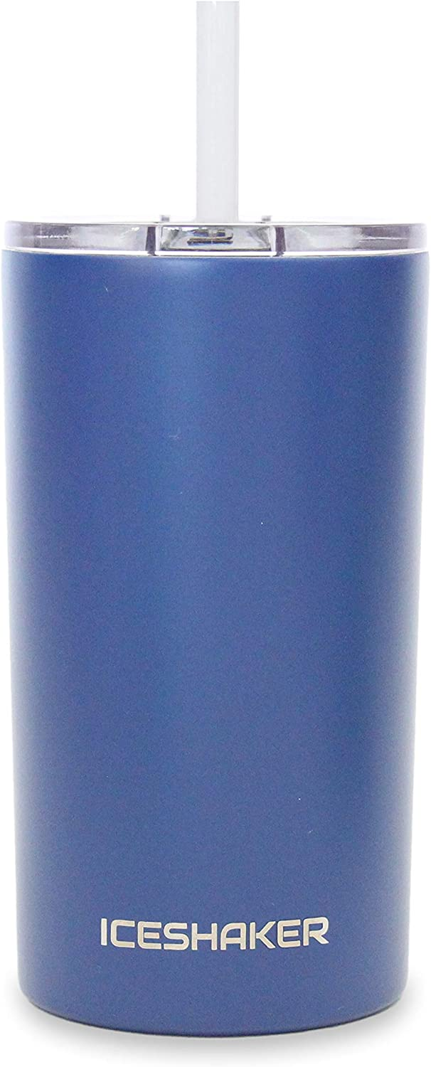 Ice Shaker 12 oz Skinny Tumbler (Navy) - Stainless Steel Tumbler & Insulated Water Bottle With Straw - Vacuum Insulated Tumbler For Hot and Cold Beverages-Holds Ice for 30+ Hours   Gronk Shaker