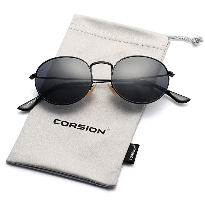 11980e71182 COASION Small Round Polarized Sunglasses Mirrored Lens Metal Frame Unisex  Sun Glasses (Black Frame