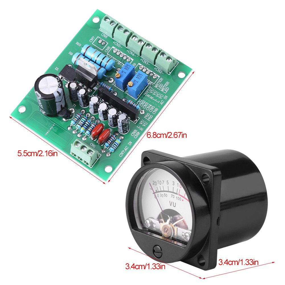 Akozon Vu Meter 2 Pcs Panel Warm Back Light Led Audio Recording Level Amp With Driver Board Home Improvement