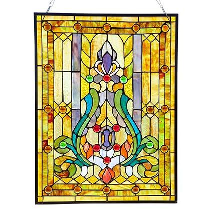 Amazon.com: Fleur de Lis Stained Glass Panel: 24.75 Inch Decorative ...