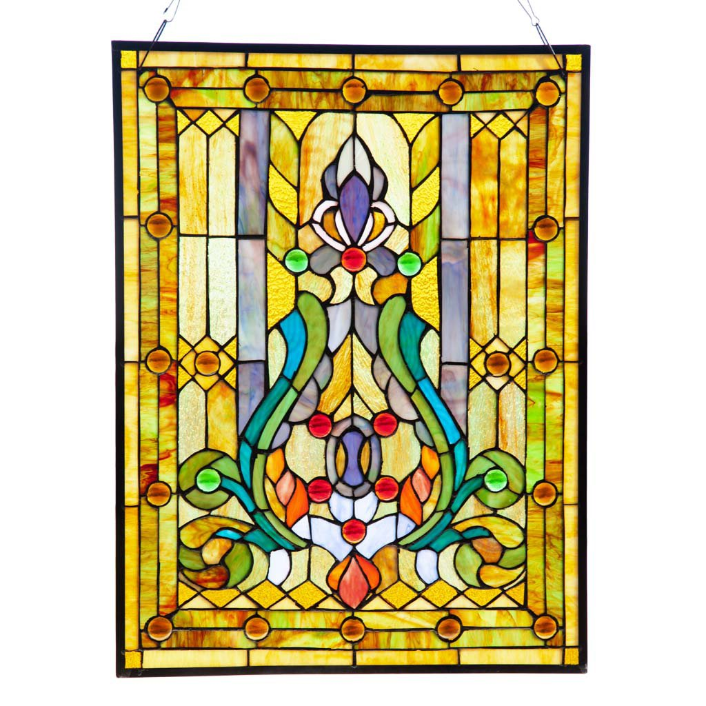 Fleur de Lis Stained Glass Panel: 24.75 Inch Decorative Tiffany Style Window Hanging - Large Framed Vertical Floral Hangings for the Wall or Windows with Blue, Purple, Green and Red Accents