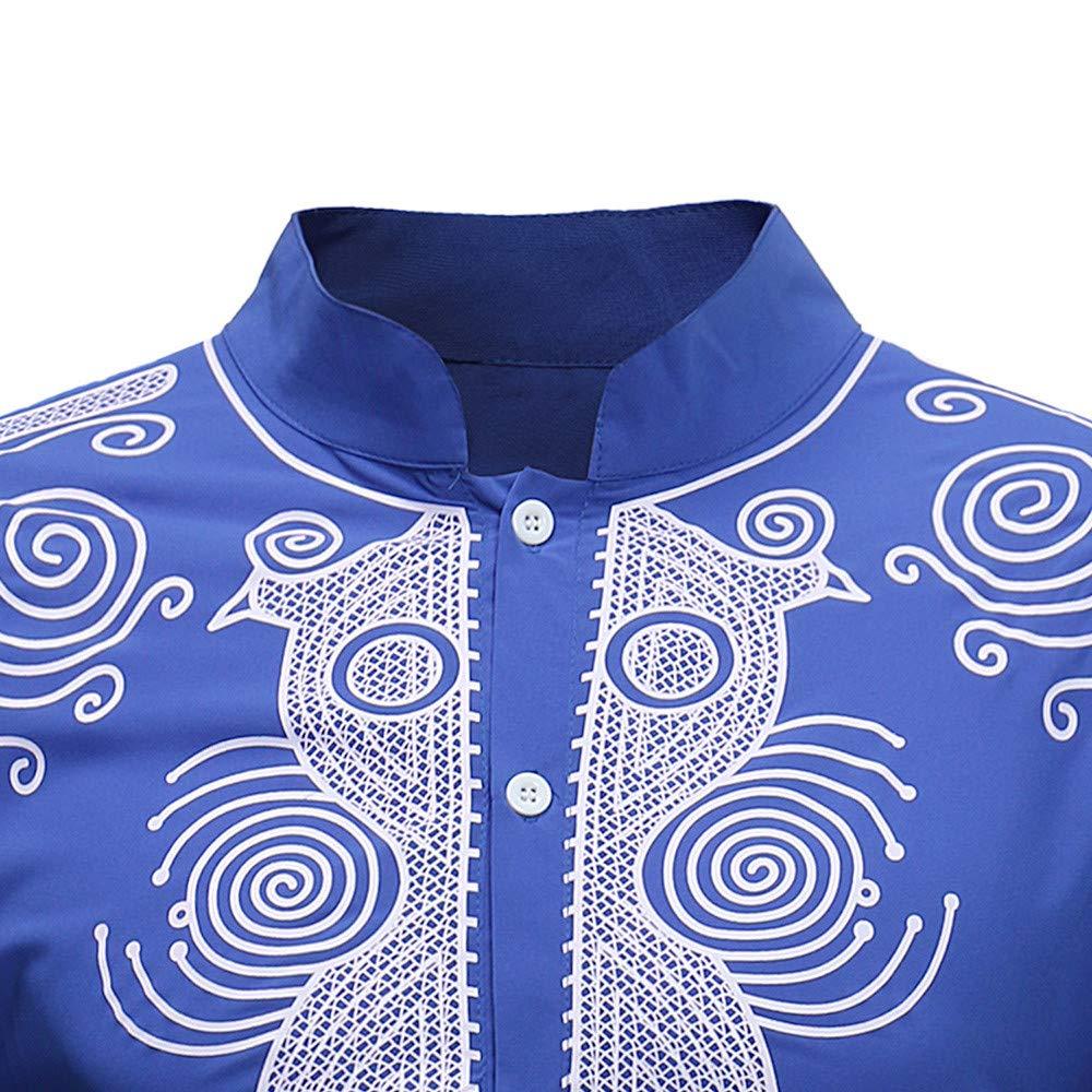 Colmkley Mens African Tribal Dashiki Maxi Stand Collar Long Sleeves Dress Shirt