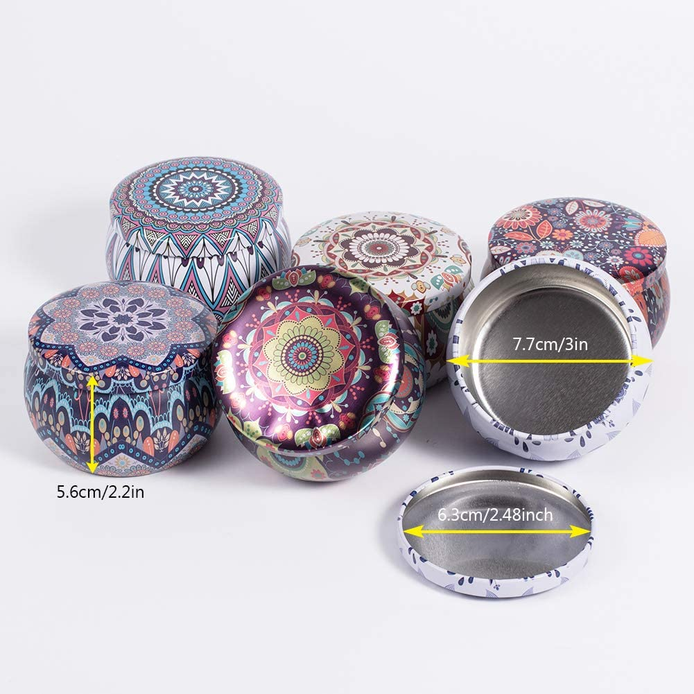 BENECREAT 12 Packs Small Flower Pattern Tinplate Round Candle Making Jars Tins with 20 Pcs Candle Wick and 20 Pcs Paper Stickers for Aromatherapy Balms