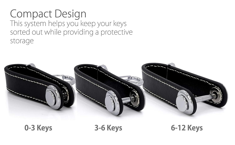 MyGadget Key Organizer PU Leather Rangement Multifonction El/égant Verrouillage S/écurit/é Noir Porte Cl/és Organisateur Compact 12 Clefs Effet Peau