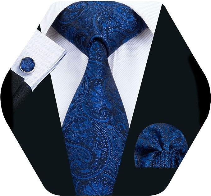 Barry.Wang Pañuelo de bolsillo de corbata de seda azul para hombre ...