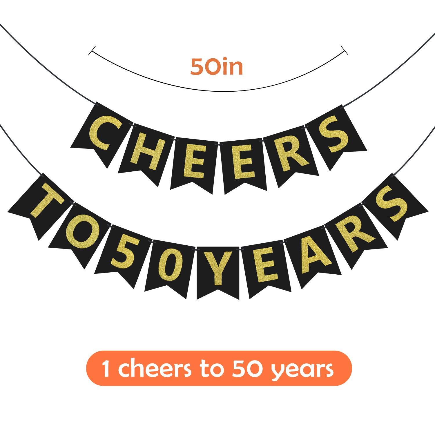 ZukoCert 50th Birthday Decorations Kit Gold Glittery Cheers to 50 Years Banner,6 Pcs Paper Pom Poms,20 Pcs Balloons,12 Pcs Sparkling Hanging Swirl Celebrate for 50th Anniversary Decorations Party Supplies