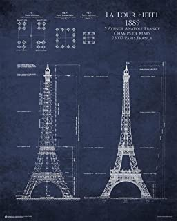 Eiffel Tower Blueprint Poster 24 X 30in