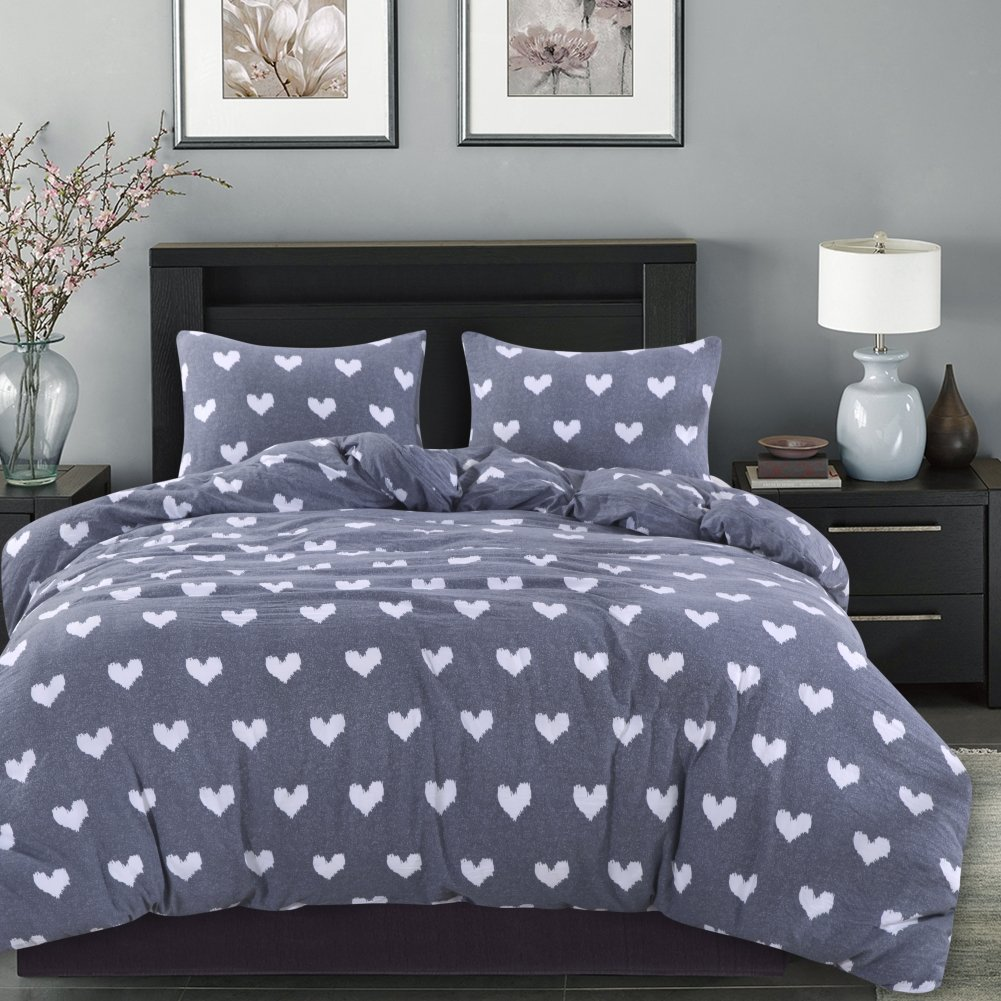 Smoofy 3 Piece Love Heart Duvet Cover Set, Microfiber Durable Reversible Design Stylish Bedding Duvet Cover with Hidden Zipper Closure + 2 Pillow Shams(Queen)