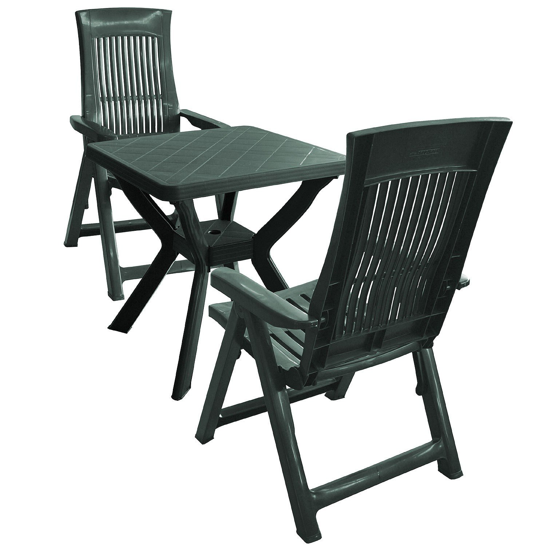 3tlg Garnitur Balkonset Gartenmöbel Sitzgruppe Kunststoff