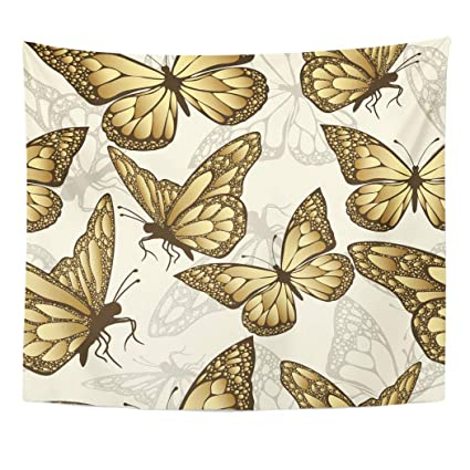 Amazon com: Tinmun Tapestry Golden Butterfly Luxury