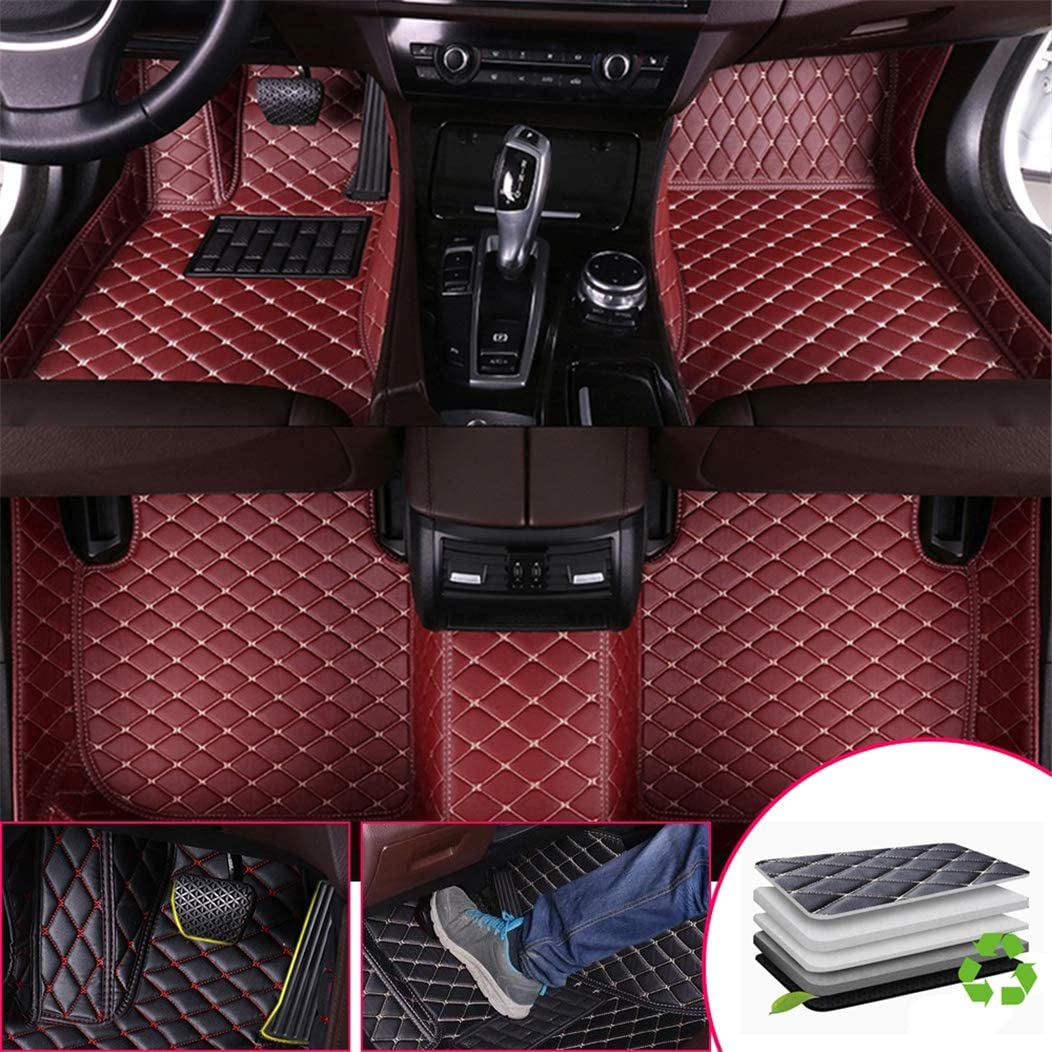 Custom Car Floor Mats for Land Rover Range-Rover-Sport 5-Seats 2014-2019 Full Surrounded Waterproof Anti-Slip All Weather Protection Leather Material Car mat Carpet Liners Interior Accessories Black