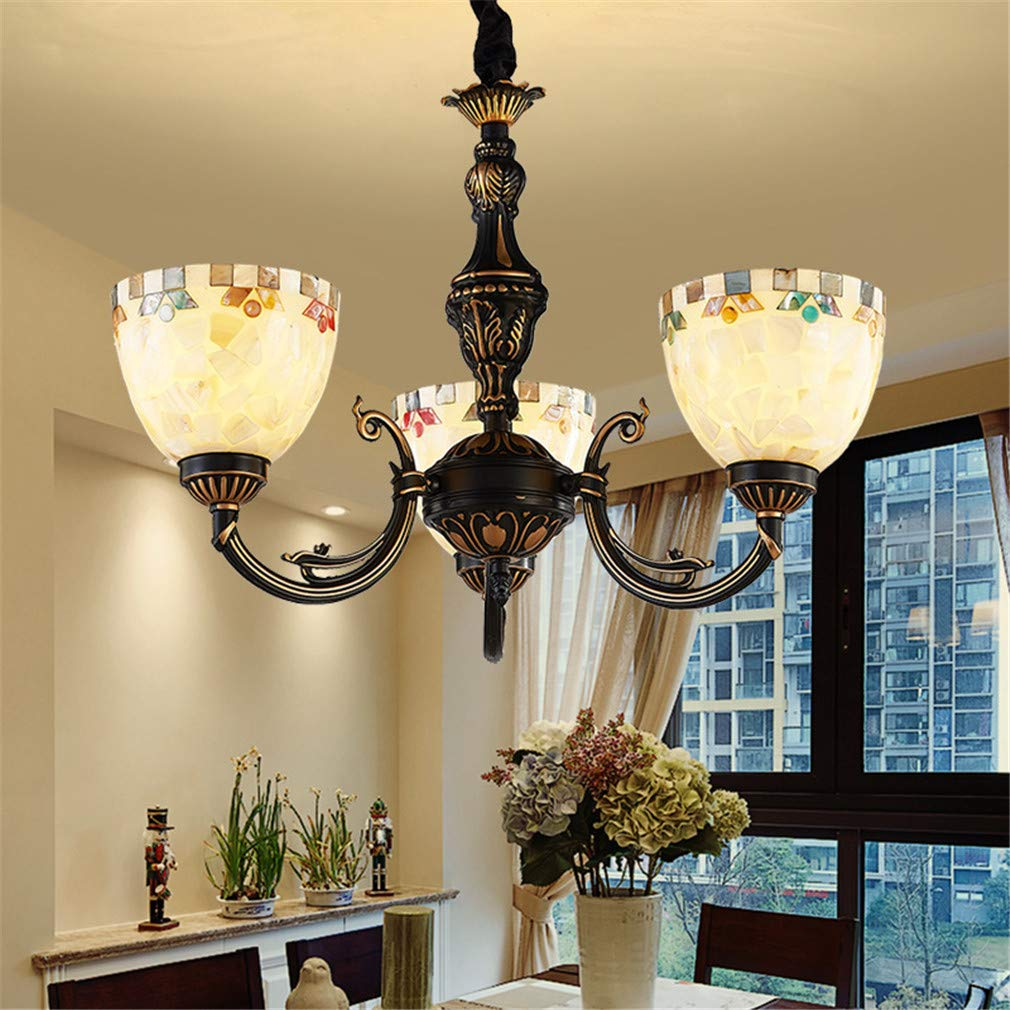 MEIYANG Tiffany Style Chandelier Retro Pastoral 3 E27 Lamp Head Home Living Room Dining Room Home Lighting Ceiling Light