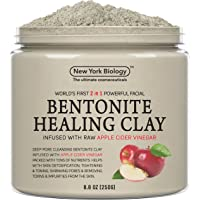 New York Biology Bentonite Clay Mask Infused with Organic Apple Cider Vinegar - 2 in 1 Powerful Facial Mask All Natural Deep Pore Cleansing for Removing Impurities from The Skin - 8.8 oz