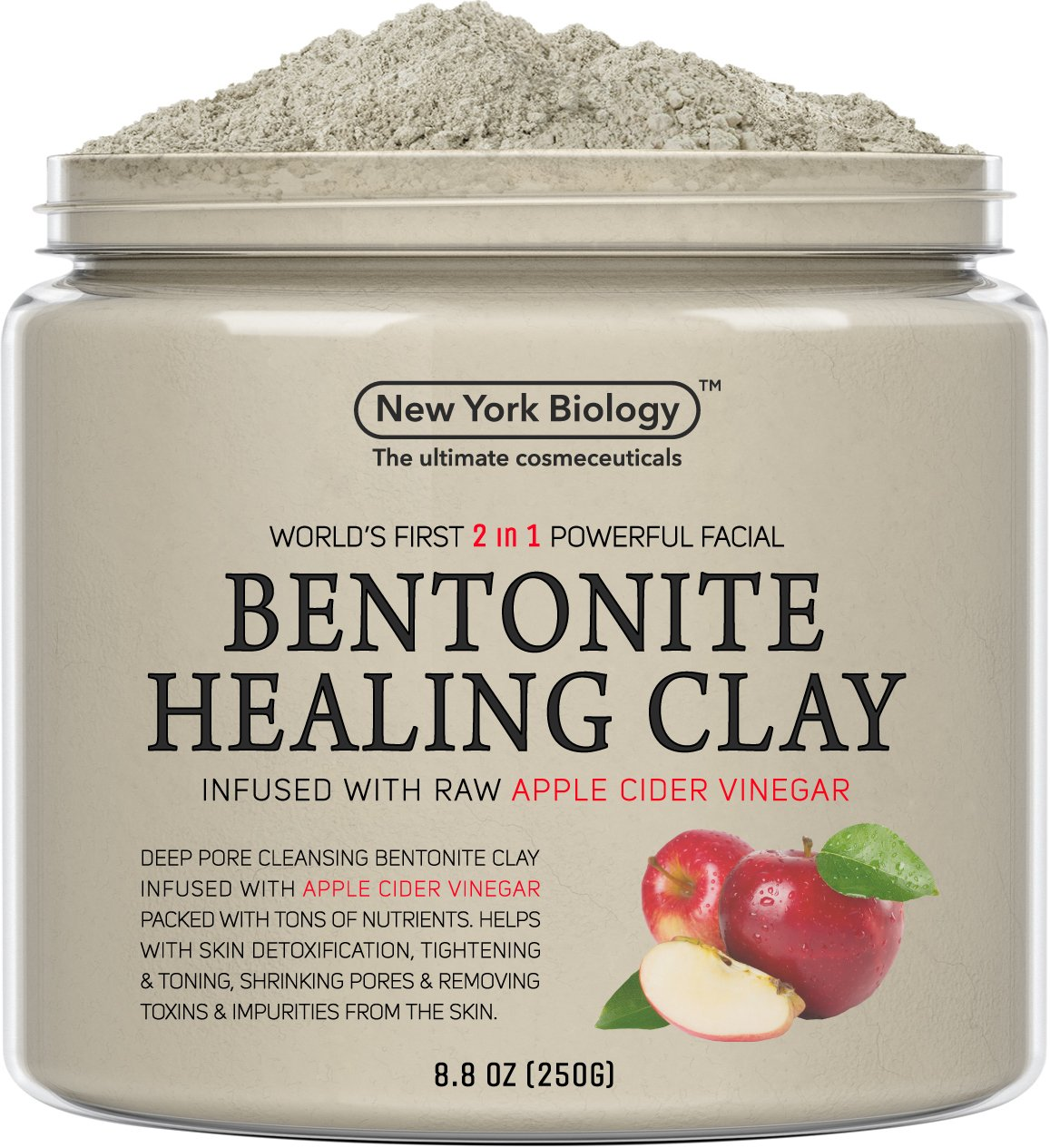 Bentonite Clay Mask Infused with Organic Apple Cider Vinegar – 100% Natural - Worlds First 2 in 1 Most Powerful Facial – All Natural Deep Pore Cleansing Helps Remove Impurities from The Skin New York Biology