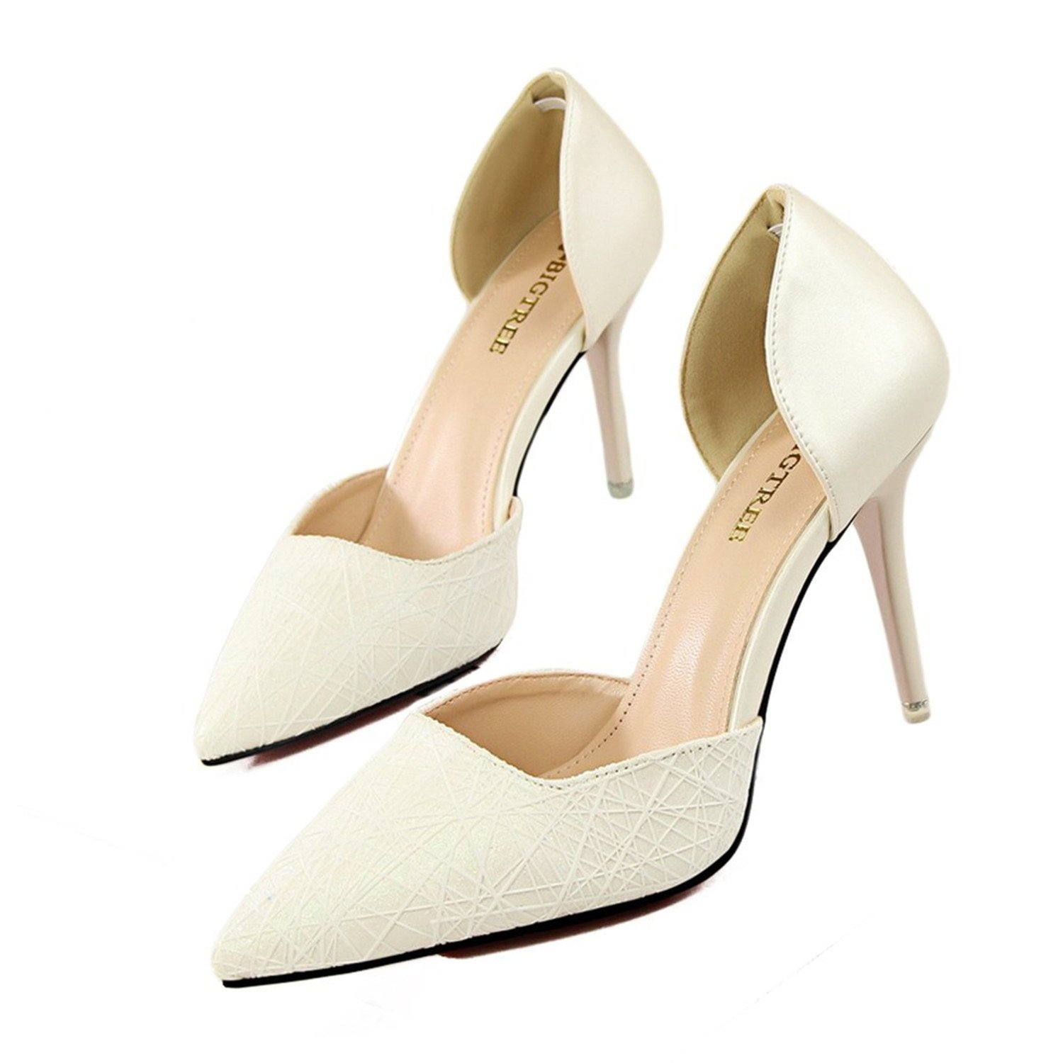 US M Gimekiss Pumps Red Bottom Heel Pumps Women Wedding Nightclub Show Party Pointed Toe Shoes Woman White6 B