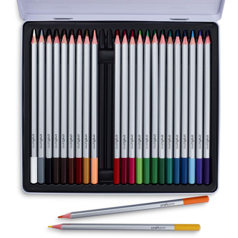 Lápices de acuarela Craftamo. 24 lápices de acuarela de calidad artística y profesional, de colores únicos y brillantes en caja de aluminio.