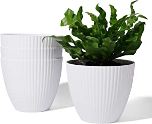 Indoor Planters - POTEY 003 6.3 Inch White Plastic Pots Modern Home Decor for House Plants, Flowers, Succulents, Orchid, Cactus, Snake Plant, Hanging Plant with Drainage Holes - Set of 4