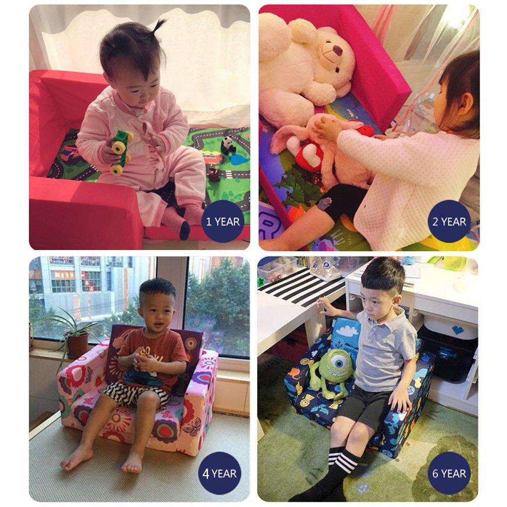 MALLBOO Divani per Bambini Divano Letto per Bambini Divano Imbottito per Bambini Pigiama per sedie Sgabello Pieghevole Reclinabile Blu