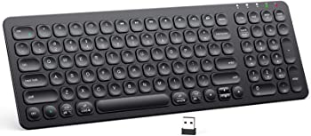 iClever Rechargeable 2.4G Full Size Slim Silent Computer Wireless Keyboard