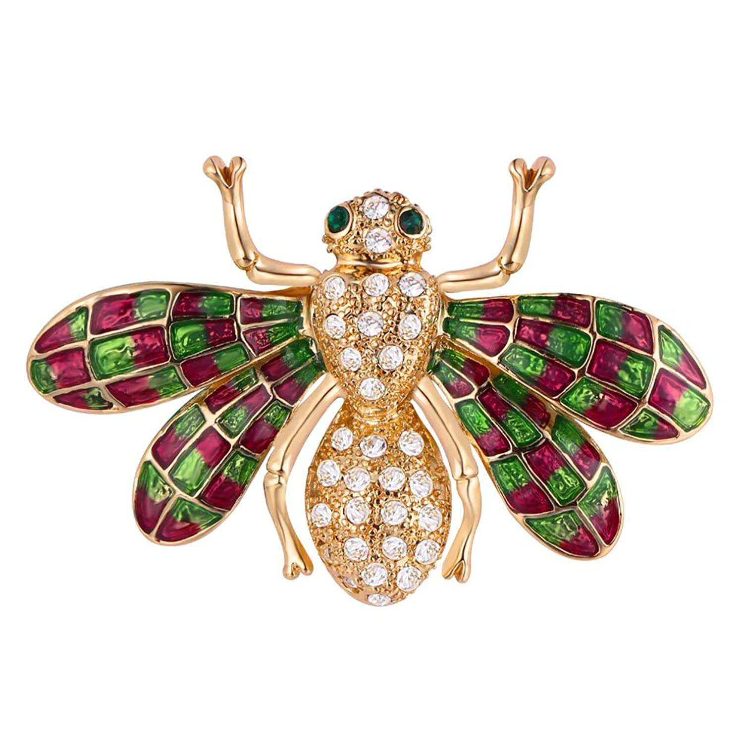 U7 Cute Bee Brooch Gold Plated Clothes Accessories Fly Insect Design Enamel Pin Corsage